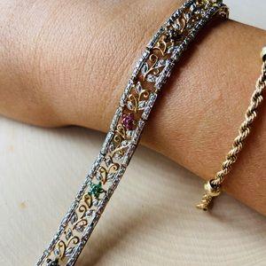 .925 Gold Vermeil Vintage Inspired Gem Bracelet